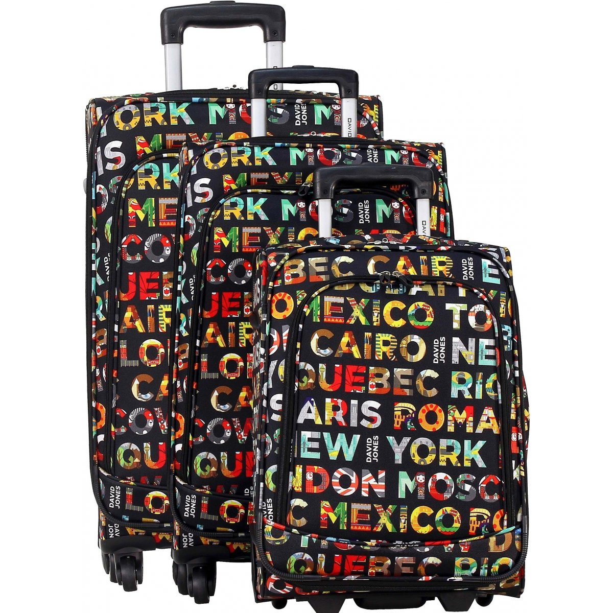 lot 3 valises dont 1 cabine ryanair david jones r20003 couleur principale lettres. Black Bedroom Furniture Sets. Home Design Ideas