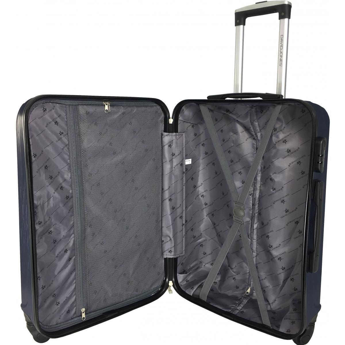 lot 3 valises dont 1 valise cabine david jones gris ba10293 gris couleur principale gris. Black Bedroom Furniture Sets. Home Design Ideas
