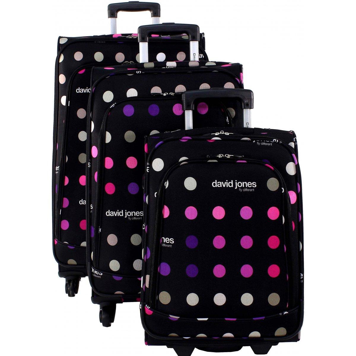 lot 3 valises dont 1 cabine ryanair david jones r20003 couleur principale pois petits. Black Bedroom Furniture Sets. Home Design Ideas