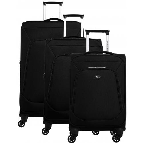lot de 3 valises dont une valise cabine david jones ba50303 couleur principale noir. Black Bedroom Furniture Sets. Home Design Ideas
